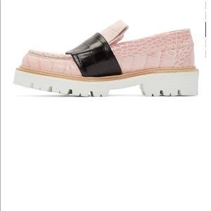 MSGM Croc-Embossed Leather Loafers